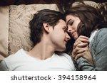 beautiful brunette girl and guy ... | Shutterstock . vector #394158964