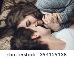 beautiful brunette girl and guy ... | Shutterstock . vector #394159138