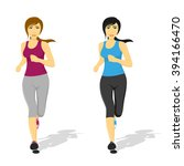 picture of young pretty running ... | Shutterstock .eps vector #394166470