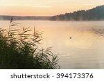 Sunrise On The Lake. Fog Over...