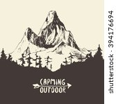 beautiful hand drawn mountain ... | Shutterstock .eps vector #394176694