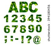 green leaves font  numbers.... | Shutterstock .eps vector #394180456