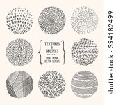 hand drawn textures and brushes.... | Shutterstock .eps vector #394182499