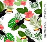 vector exotic seamless pattern... | Shutterstock .eps vector #394184374