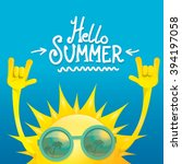hello summer rock n roll poster.... | Shutterstock .eps vector #394197058