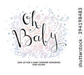 baby shower invitation card. oh ... | Shutterstock .eps vector #394198483