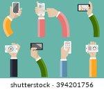 hand hold telephone   Shutterstock .eps vector #394201756