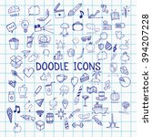 set of pen doodle icons on... | Shutterstock .eps vector #394207228