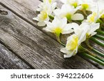 white daffodil flowers on old... | Shutterstock . vector #394222606