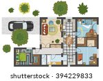 colorful floor plan of a house. | Shutterstock .eps vector #394229833
