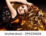 beautiful brown hair girl.... | Shutterstock . vector #394234606
