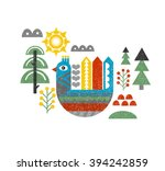 cute print with bird in the... | Shutterstock .eps vector #394242859