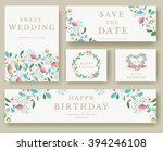 set of flower wedding ornament... | Shutterstock .eps vector #394246108