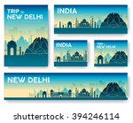 set of india landscape country... | Shutterstock .eps vector #394246114