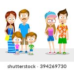 family and young couple on... | Shutterstock .eps vector #394269730