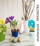 easter eggs   purple crocus and ... | Shutterstock . vector #394282783