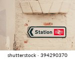 Train Station Sign And...