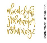 Vector Golden Alphabet. Unique...