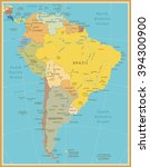 south america detailed map... | Shutterstock .eps vector #394300900