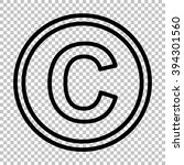 copyright sign. line icon on... | Shutterstock . vector #394301560