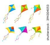 Colorful Kite Set On White...