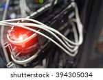 an lan cable in network room... | Shutterstock . vector #394305034