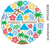 summer icons in circle. | Shutterstock .eps vector #394318108