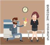 business man give flower | Shutterstock . vector #394318648