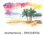 Watercolour Painting Of Sunset...