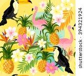 yellow tropical seamless vector.   Shutterstock .eps vector #394321924