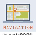 red point on map in laptop that ... | Shutterstock .eps vector #394340806