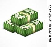 piles of money stack  cash... | Shutterstock .eps vector #394342603
