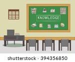 blackboard and desk in the... | Shutterstock .eps vector #394356850