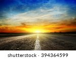 along the road. sunset and... | Shutterstock . vector #394364599