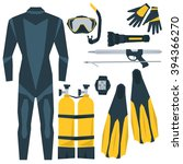 vector icons set of diving... | Shutterstock .eps vector #394366270