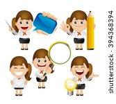 cute set   set of businesswoman | Shutterstock .eps vector #394368394