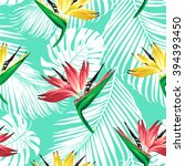 tropical flowers and palm... | Shutterstock .eps vector #394393450