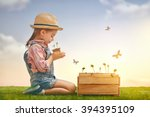 cute little child girl planting ... | Shutterstock . vector #394395109