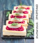 an appetizer with beet and... | Shutterstock . vector #394395460