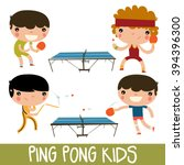 ping pong kids set. character... | Shutterstock .eps vector #394396300