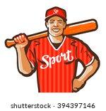 baseball player vector logo... | Shutterstock .eps vector #394397146