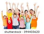 happy group children isolated... | Shutterstock . vector #394403620