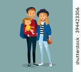 young couple with child... | Shutterstock .eps vector #394423306