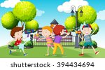 children playing water gun in... | Shutterstock .eps vector #394434694