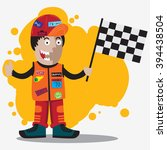 race man with race flag on his... | Shutterstock .eps vector #394438504