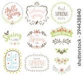 spring typographic design set.... | Shutterstock .eps vector #394438840