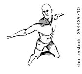 comic book hero pose in sketch... | Shutterstock . vector #394439710