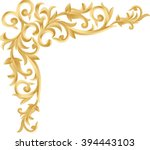 corner gold vintage baroque... | Shutterstock .eps vector #394443103