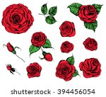 hand drawn set of roses  rose... | Shutterstock .eps vector #394456054