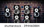 black high gloss music speakers ... | Shutterstock . vector #394460884